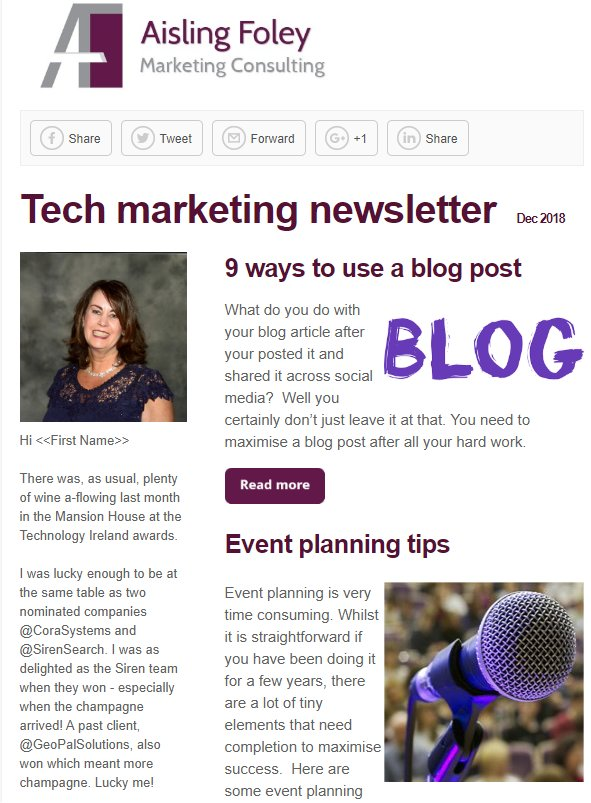 Tech marketing newsletter Dec 2018